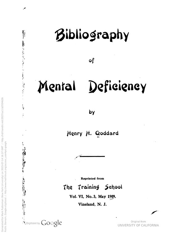 Bibliography of mental deficiency