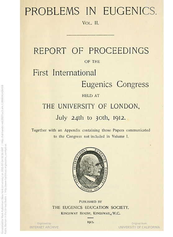 International eugenics congress problems in eugenics