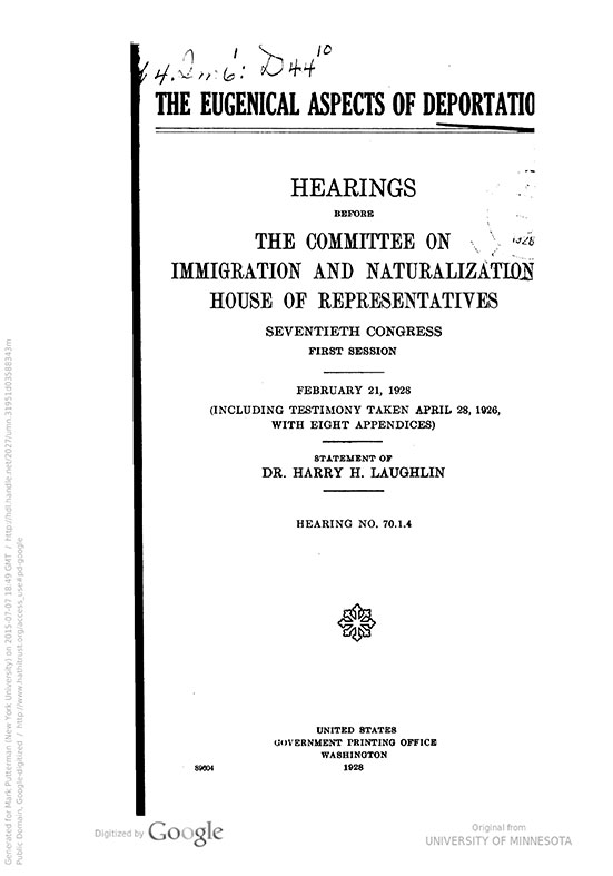 The eugenical aspects of deportation   hearings before the committee on immigration and naturalization